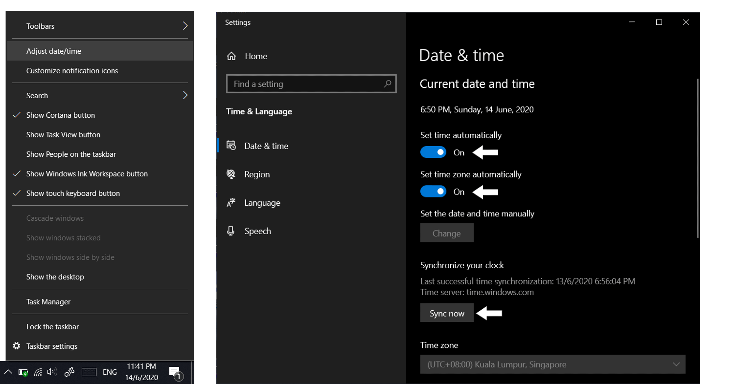 calibrate date and time settings on windows to fix discord stuck on starting