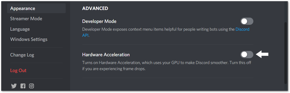 Turn Off and On Hardware acceleration setting to fix discord screen share black screen