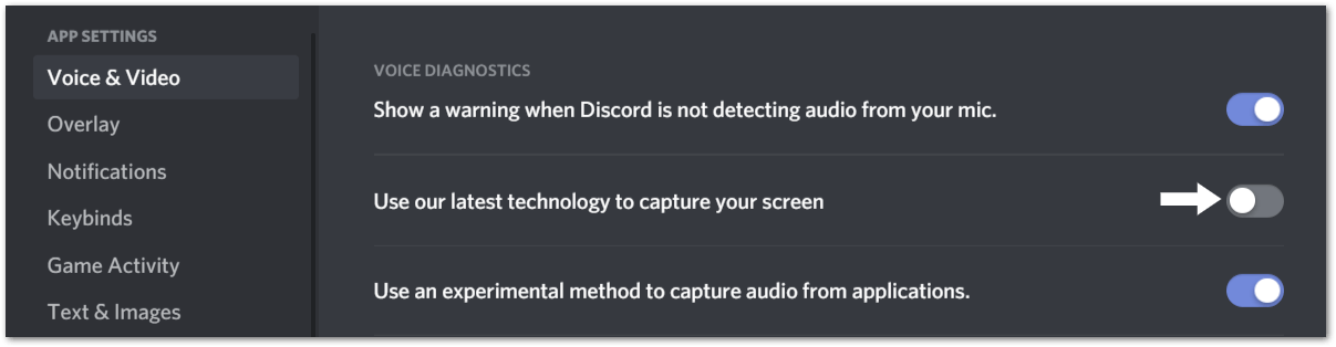 """Turn off the """"Use our latest technology"""" Setting to fix discord screen share not working"""