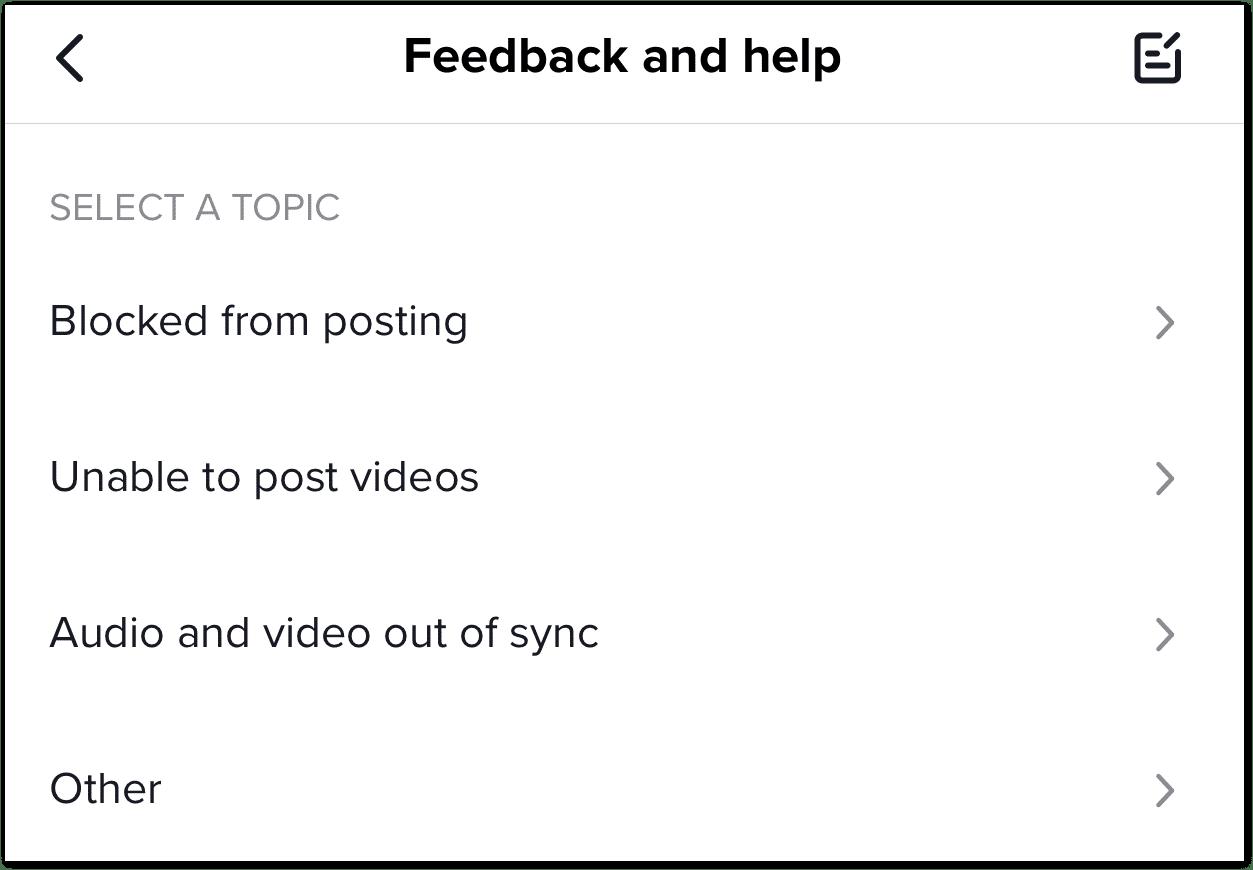 Report problem to TikTok to fix TikTok video not uploading