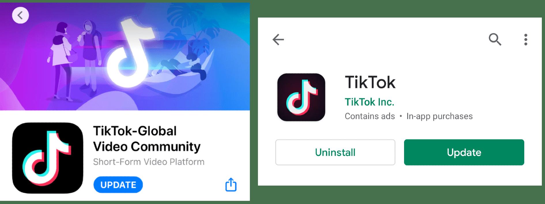 Update TikTok app to fix TikTok video not posting
