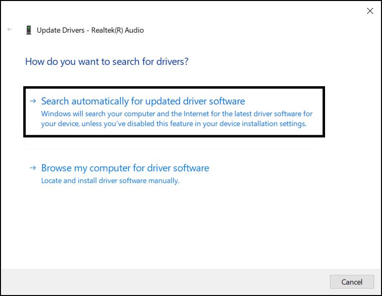 Update audio drivers to fix discord screen share no audio
