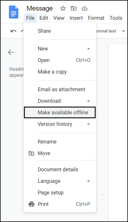 Make the file available offline to fix google docs or sheets not saving changes