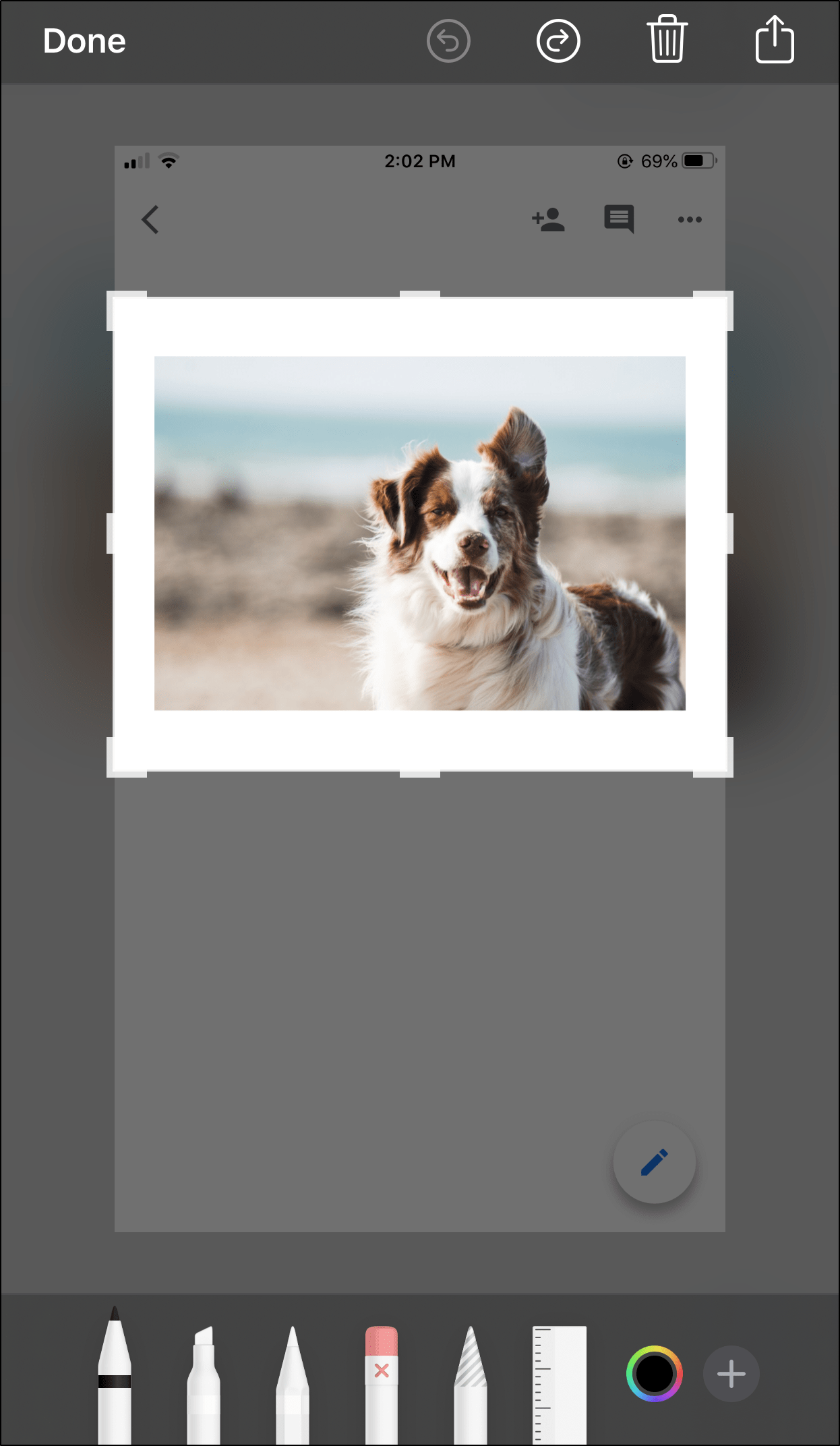 Screenshot and crop the image to save pictures from Google Docs on iPhone and Android