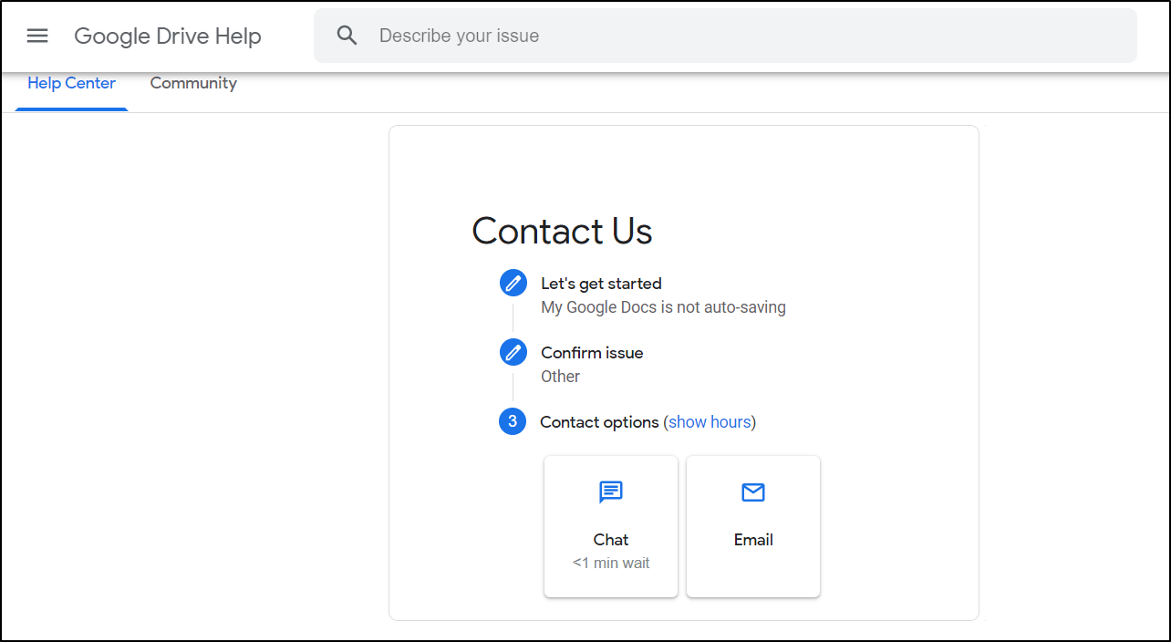 Contact Google Drive Support to fix google docs and sheets not saving