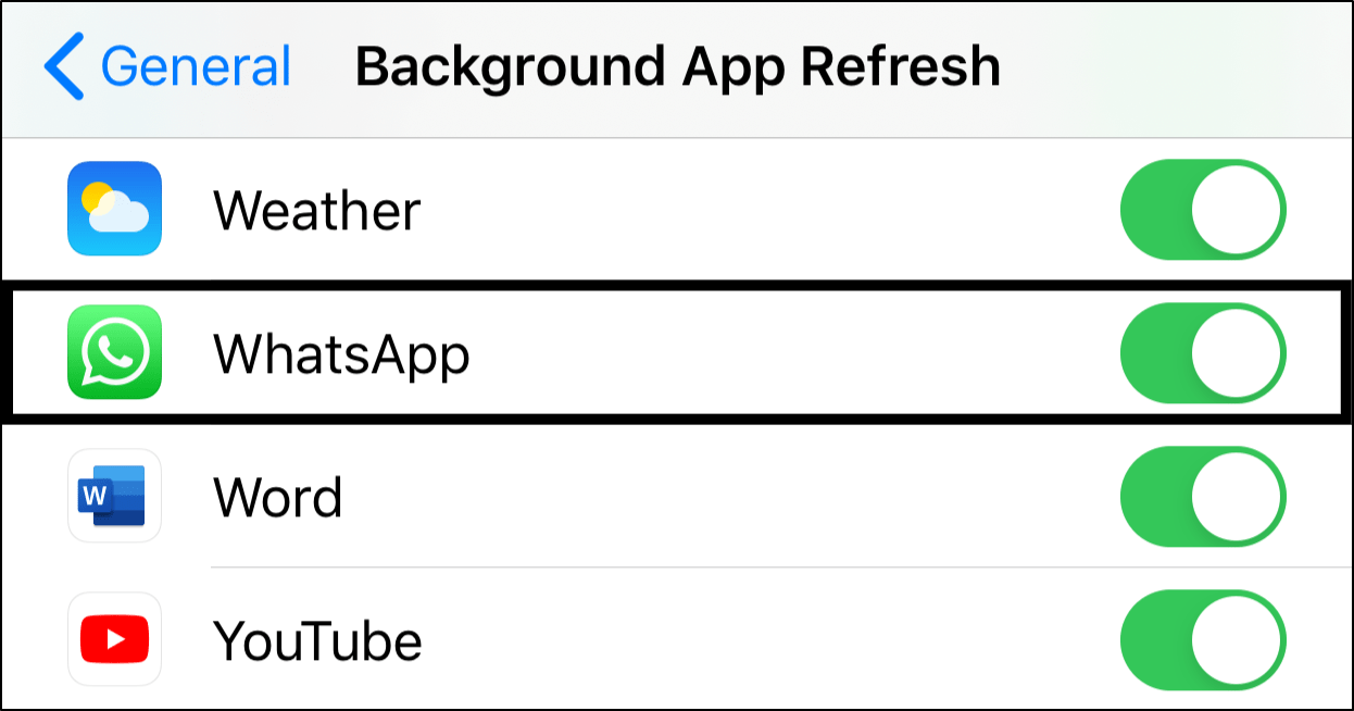 Enable background app refresh to fix Whatsapp calls not ringing on iPhone