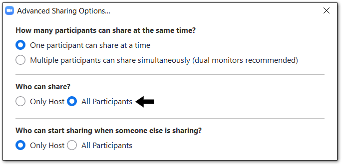 Enable participant screen sharing to fix zoom share screen not working