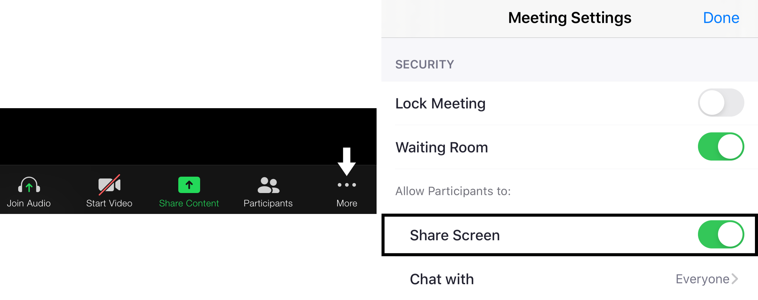 Enable participant screen sharing to fix zoom screen sharing not working