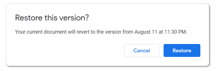 Restore the last saved version to fix google docs or sheets not saving