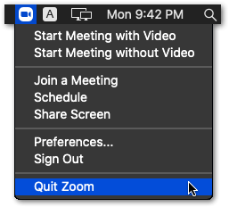 restart zoom application on macOS to fix zoom screen sharing not working