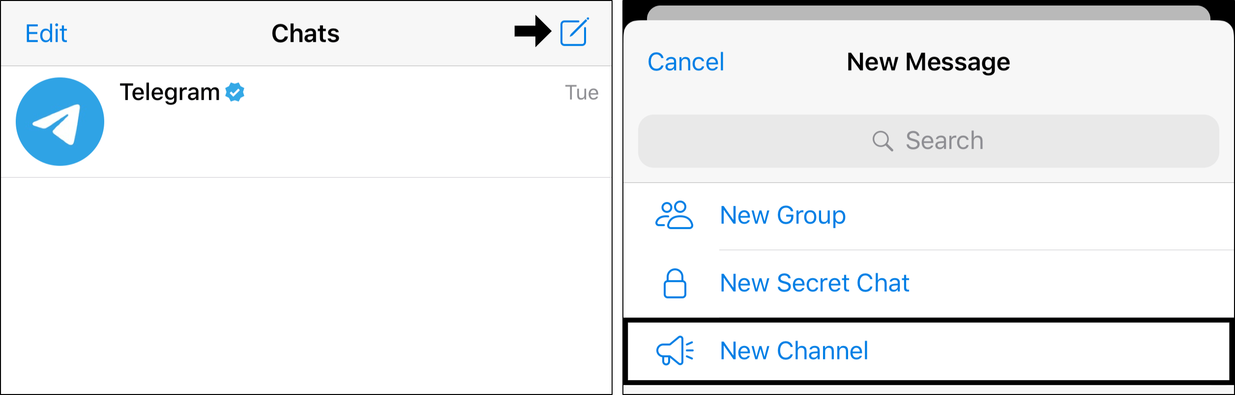 create channels to send messages to yourself on telegram on iPhone, iPad and Android