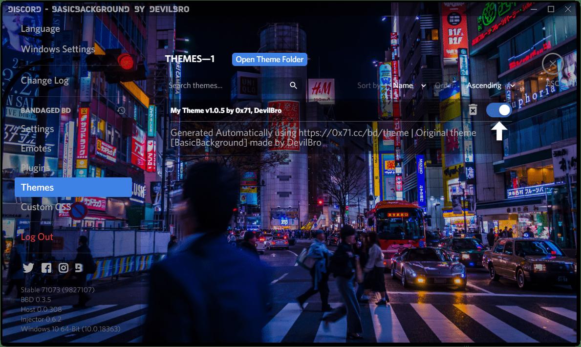 changing Discord background themes using betterdiscord
