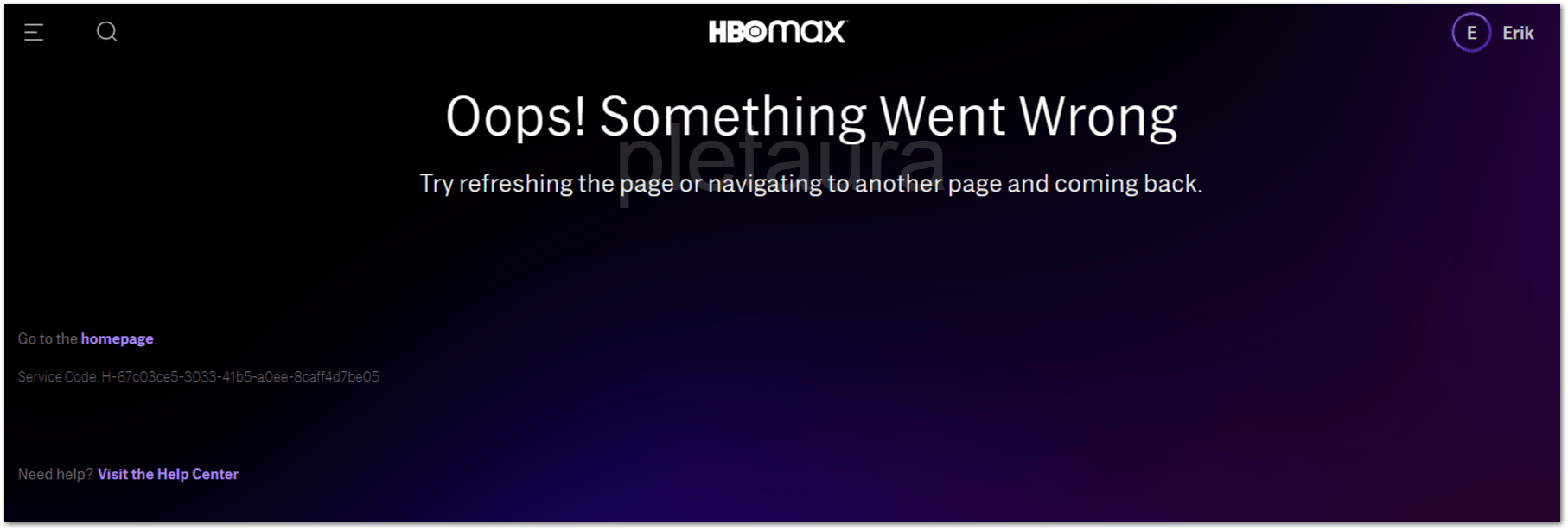 HBO Max oops something went wrong error