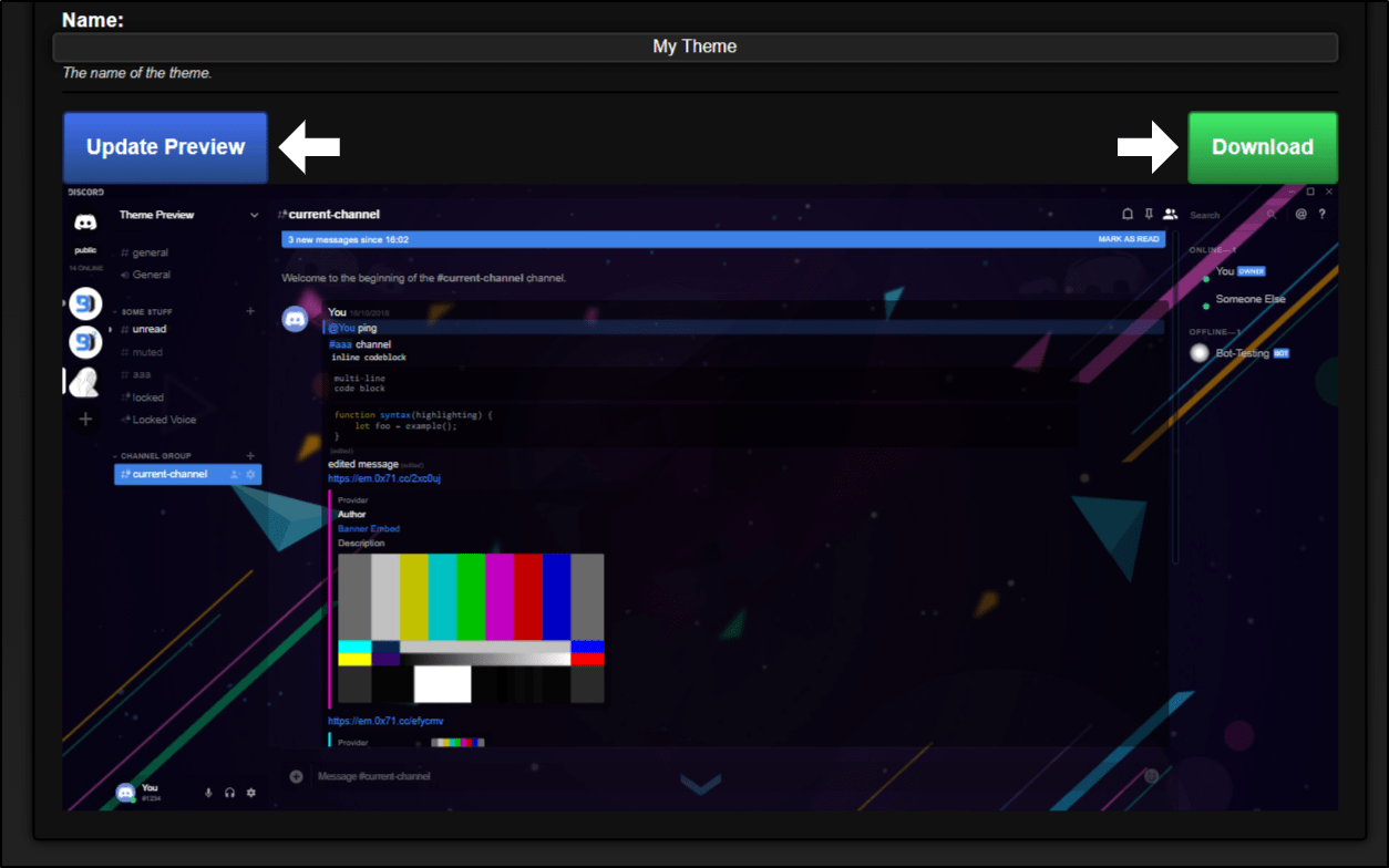 creating a discord background theme using generator