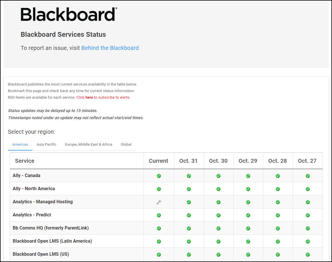 check blackboard server status